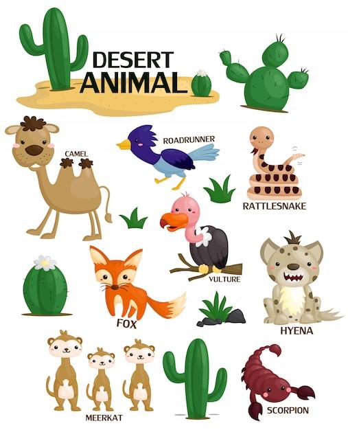 Набор изображений пустынных животных Premium векторы