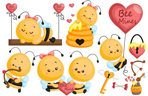 Пчела в любви Premium векторы