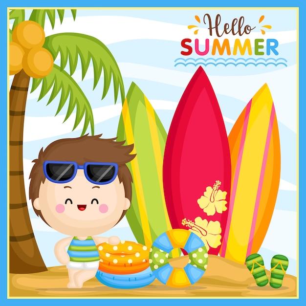 Привет лето Premium векторы