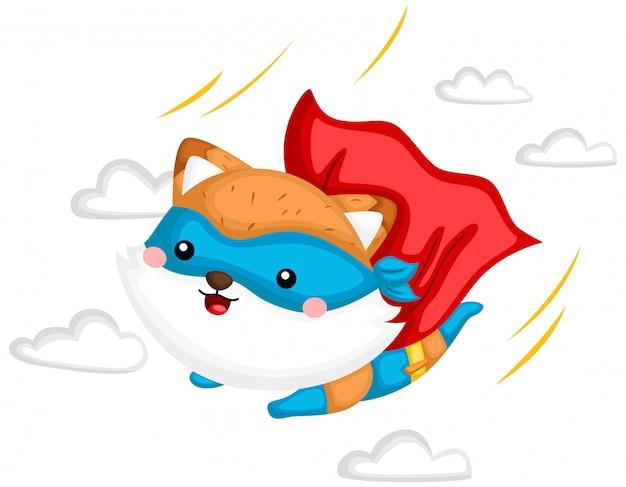 Летающий фокс супергерой Premium векторы