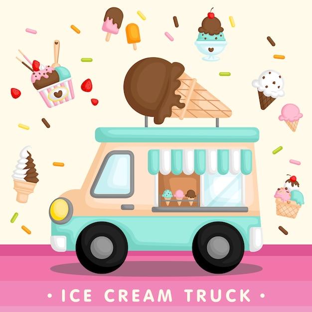 ブルーアイスクリームトラック Premiumベクター