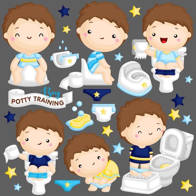 男の子トイレトレーニング Premiumベクター