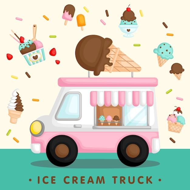 ピンクのアイスクリームトラック Premiumベクター