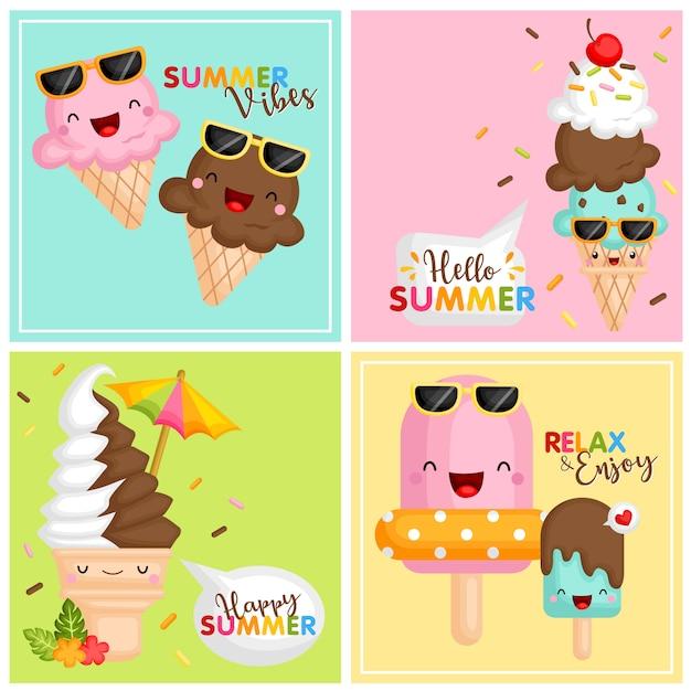 サマーアイスクリームカード Premiumベクター