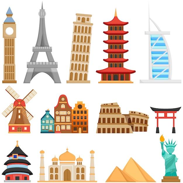 Симпатичные достопримечательности и здания по всему миру Premium векторы