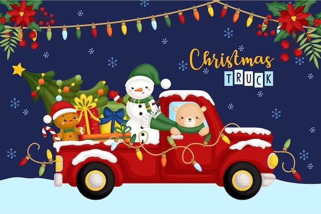 夜のクリスマストラック Premiumベクター