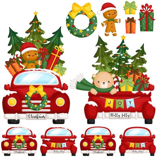 Красный рождественский грузовик фронт Premium векторы