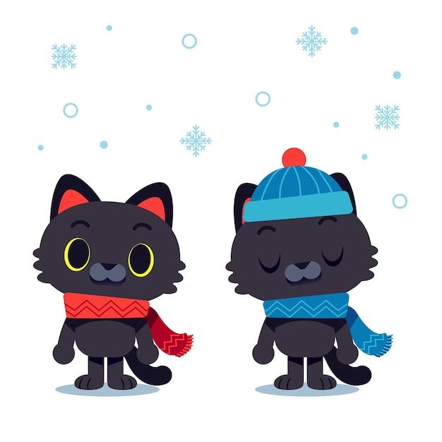 スカーフと帽子をかぶった猫のキャラクター ベクター画像