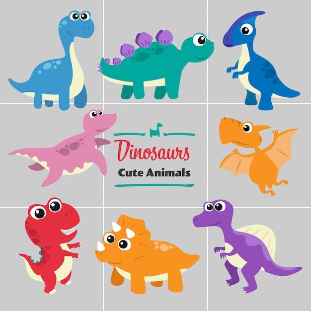 恐竜の漫画の動物かわいいスタイルのコレクションセット。 Premiumベクター