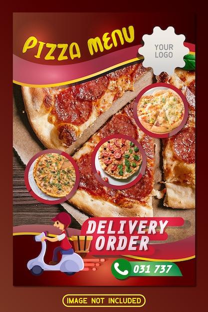 ピザレストランメニューチラシパンフレットデザイン Premiumベクター