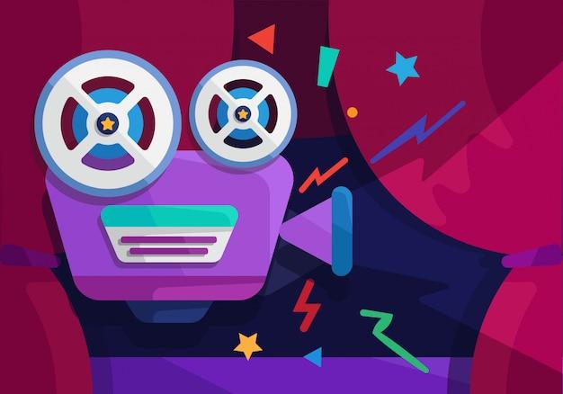 Проектор играть в кино показать Premium векторы