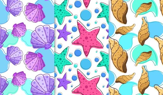 Морские ракушки и морские звезды Premium векторы