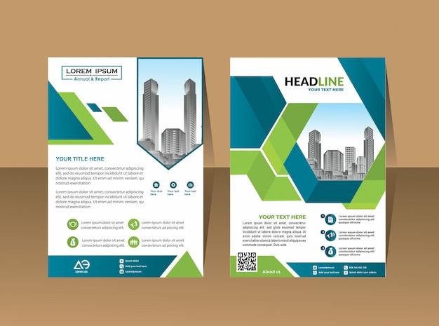 カバーパンフレットチラシレイアウト年次報告書ビジネステンプレート Premiumベクター
