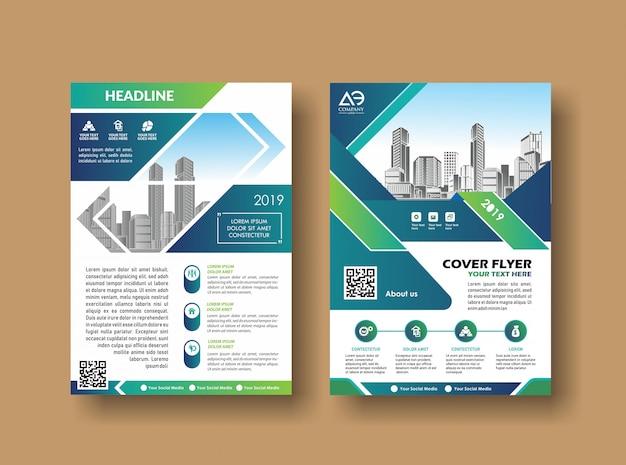 レイアウト表紙デザインアニュアルレポートパンフレット Premiumベクター