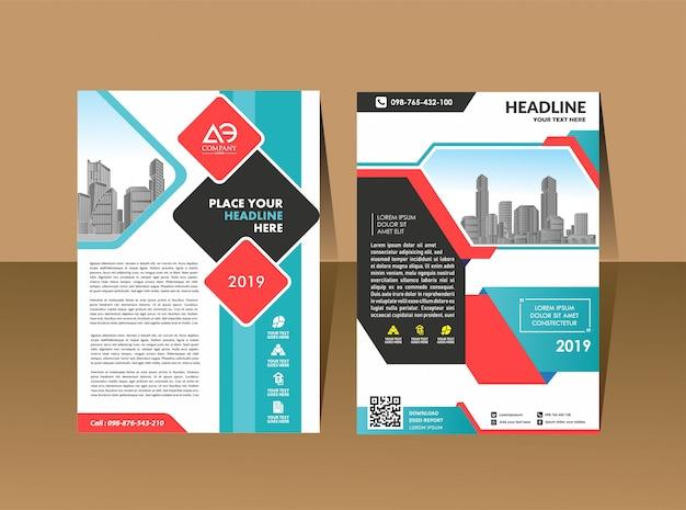 ポスターパンフレットチラシデザインテンプレートベクトルリーフレット Premiumベクター
