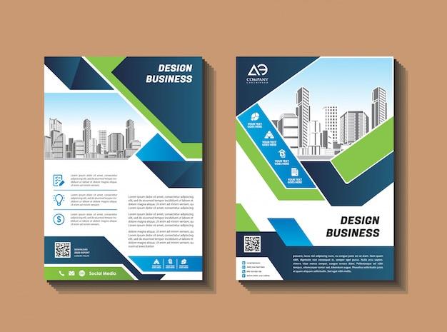 ビジネスパンフレットのデザインテンプレートチラシレイアウト雑誌年次報告書 Premiumベクター