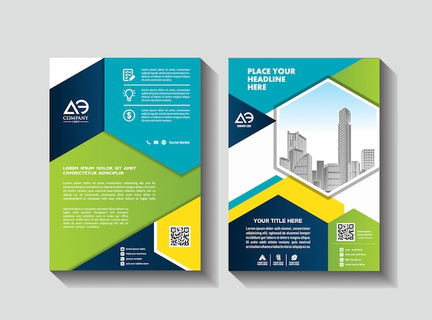 ビジネスパンフレットのレイアウト Premiumベクター