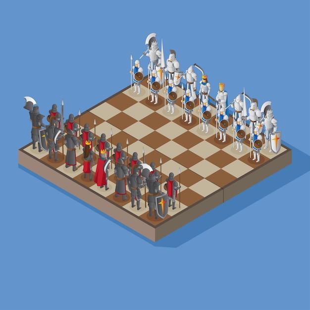 等角図で装甲人物とチェス盤 Premiumベクター