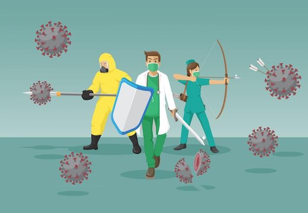 医療チームがコロナウイルスと戦う Premiumベクター