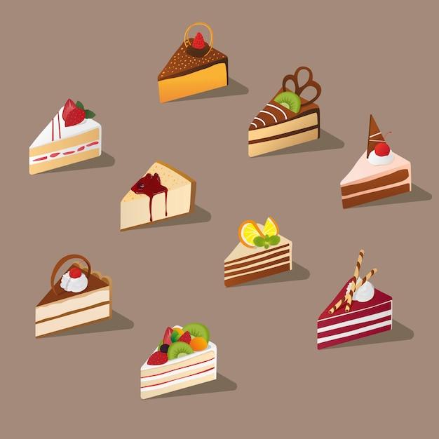 Изометрические нарезанный торт Premium векторы