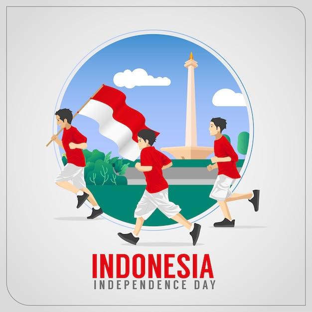 Поздравление с днем независимости индонезии Premium векторы