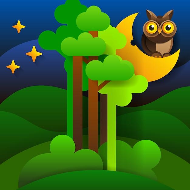 森の風景夜空に森のシルエット。ベクター Premiumベクター