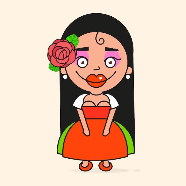 メキシコの漫画女性 Premiumベクター