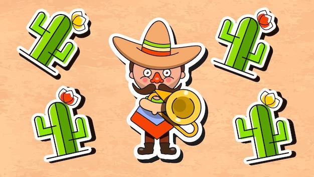 男性のネイティブの服とソンブレロとメキシコのミュージシャンイラスト Premiumベクター