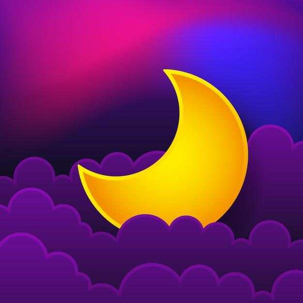 Ночной концепт логотип. доброй ночи. иллюстрация Premium векторы