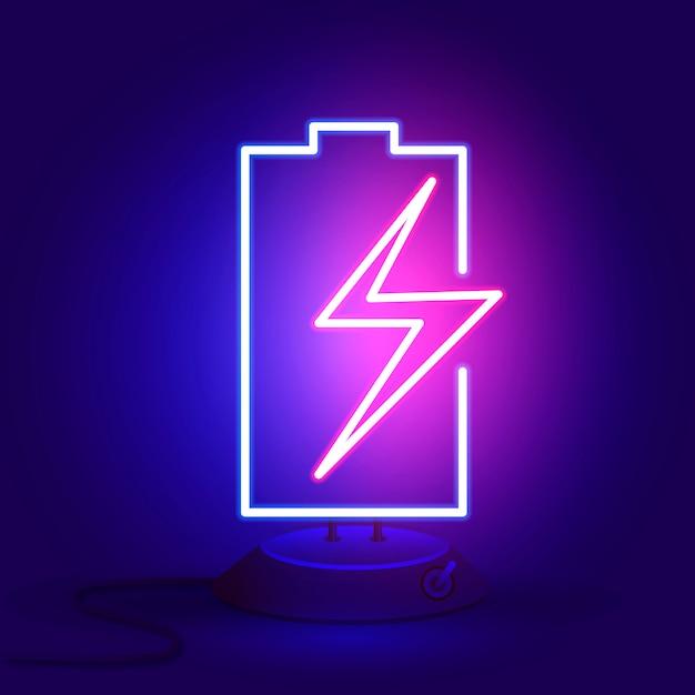 スタンドにジッパー付きのネオン電池が暗闇で光ります。 Premiumベクター