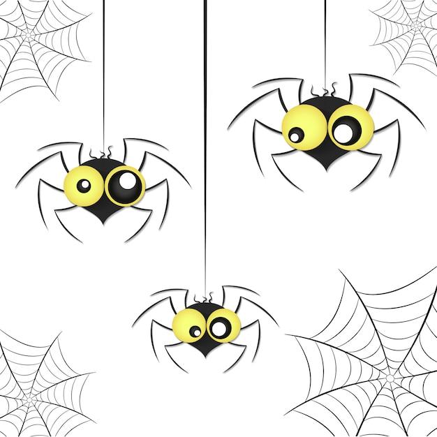 Черные пауки с сеткой Premium векторы
