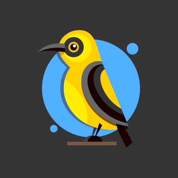 設計のためのブランチフラットスタイルロゴの鳥オリオール。 Premiumベクター