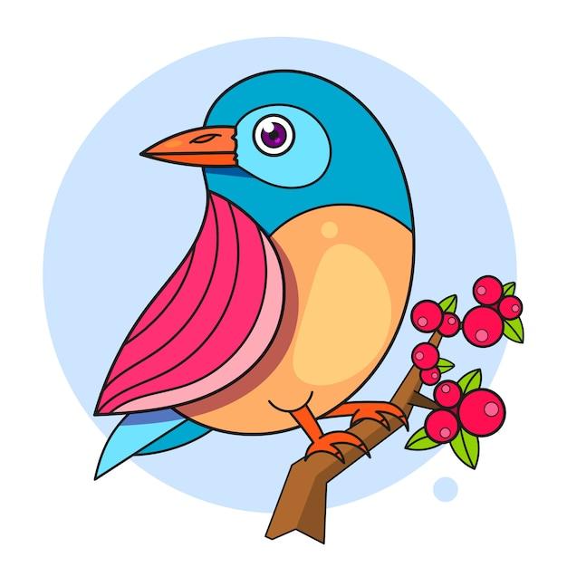 枝に鳥のデザイン Premiumベクター