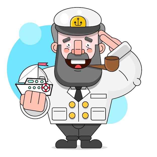 Капитан с трубой и кораблем. иллюстрация, изолированных на белом фоне подходит для поздравительных открыток, плакатов или футболки печати. Premium векторы