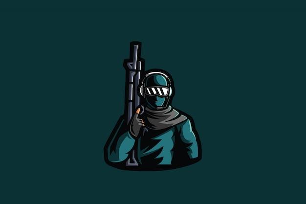 Очки армейский киберспорт талисман Premium векторы