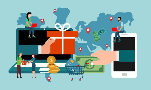 トランザクションの人物の概念。フラットスタイルの投資家はオンラインでアイデアを得る。 Premiumベクター