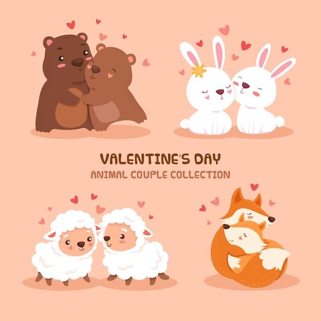 かわいいバレンタインデー動物カップルコレクション Premiumベクター