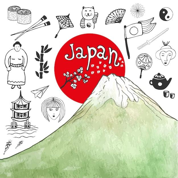 水彩山で日本のアイコンの手描きの手書きを描く。デザインのための日本の文化要素。ベクトル図。 Premiumベクター