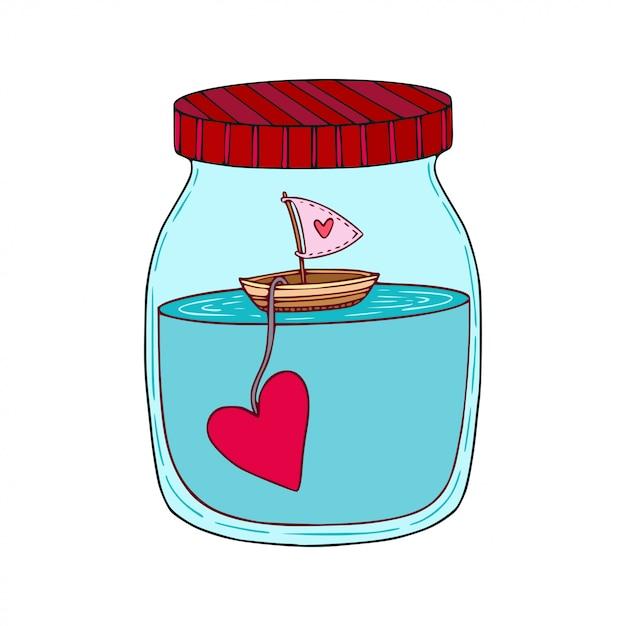 漫画はガラス瓶の中の心と船の描かれた芸術を手します。 Premiumベクター