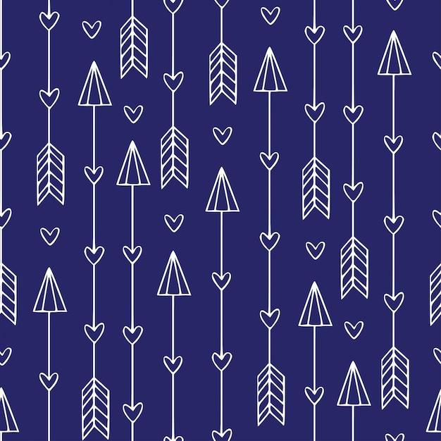 矢印とのシームレスなパターン。現代のエスニックプリント。ミニマルな矢印 Premiumベクター