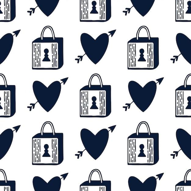 南京錠と心のシームレスなパターン。黒と白ロマンチックなデザインをロックします。バレンタインデーの繰り返しパターン。 Premiumベクター