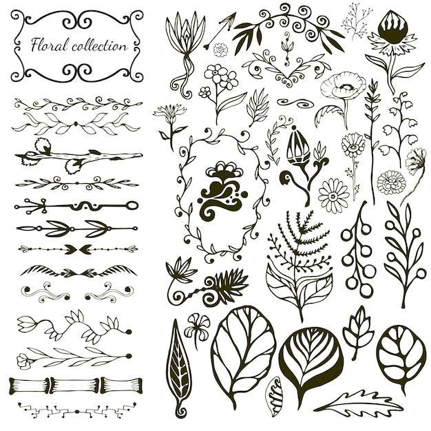 野生の花、葉、渦巻き、国境と手描きの花の大きなセット。 Premiumベクター