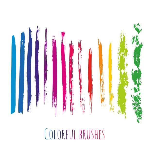 Векторная коллекция с красочными элементами кисти. радужные пятна краски установлены изолированы. Premium векторы
