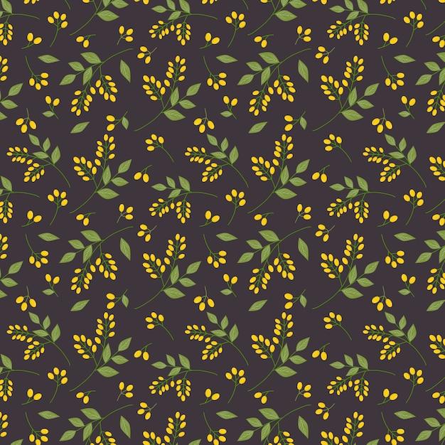 シームレスな植物の花柄の黄色の黄色の房緑の小枝は、全面印刷を残します Premiumベクター