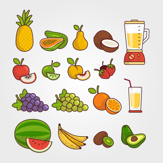 Коллекция тропических фруктов Premium векторы
