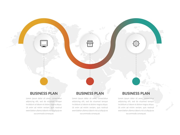 アイコンとインフォグラフィックベクトルテンプレートビジネスマーケティング Premiumベクター