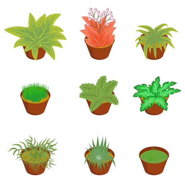 アイソメ植物木ブッシュ Premiumベクター