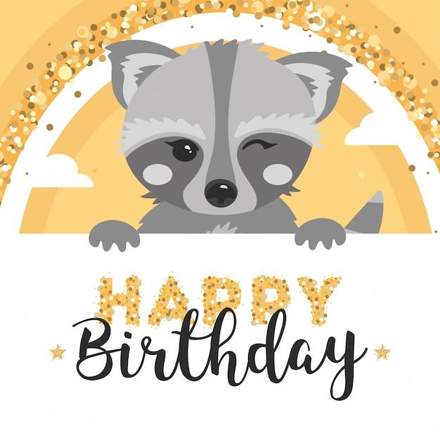 かわいいアライグマの誕生日グリーティングカード。 Premiumベクター