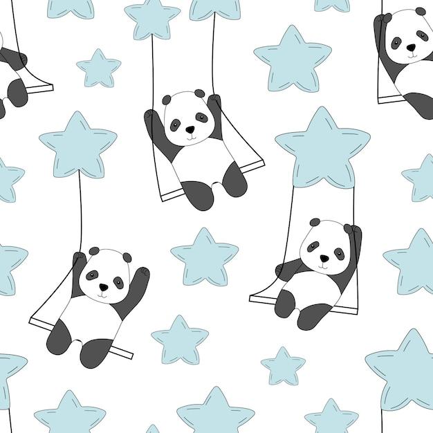 Милая панда на качелях в небе среди звезд. Premium векторы