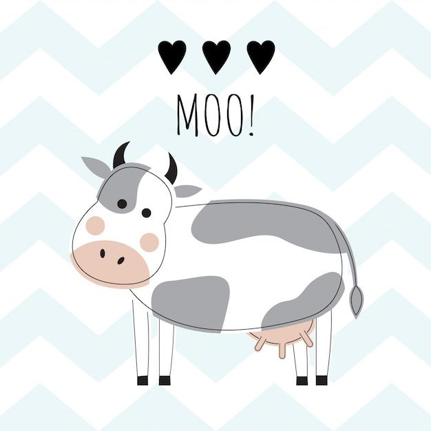 Милые коровы на фоне синих зигзагов. Premium векторы